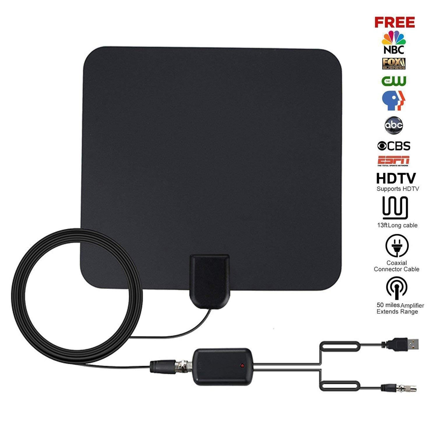 TV Antenna,Saytay Upgraded 2018 Version HD Digital TV Antenna Kit with Detachable Amplifier Signal Booster for Indoor,Best 50 Miles Long Range 1080P Adapter,13ft Coax Cable Support All TV's