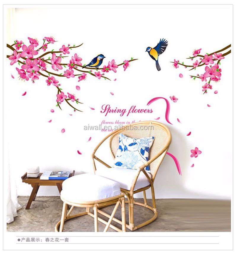 Xl8166 peach flower wall decals colorful peach tree birds sticker