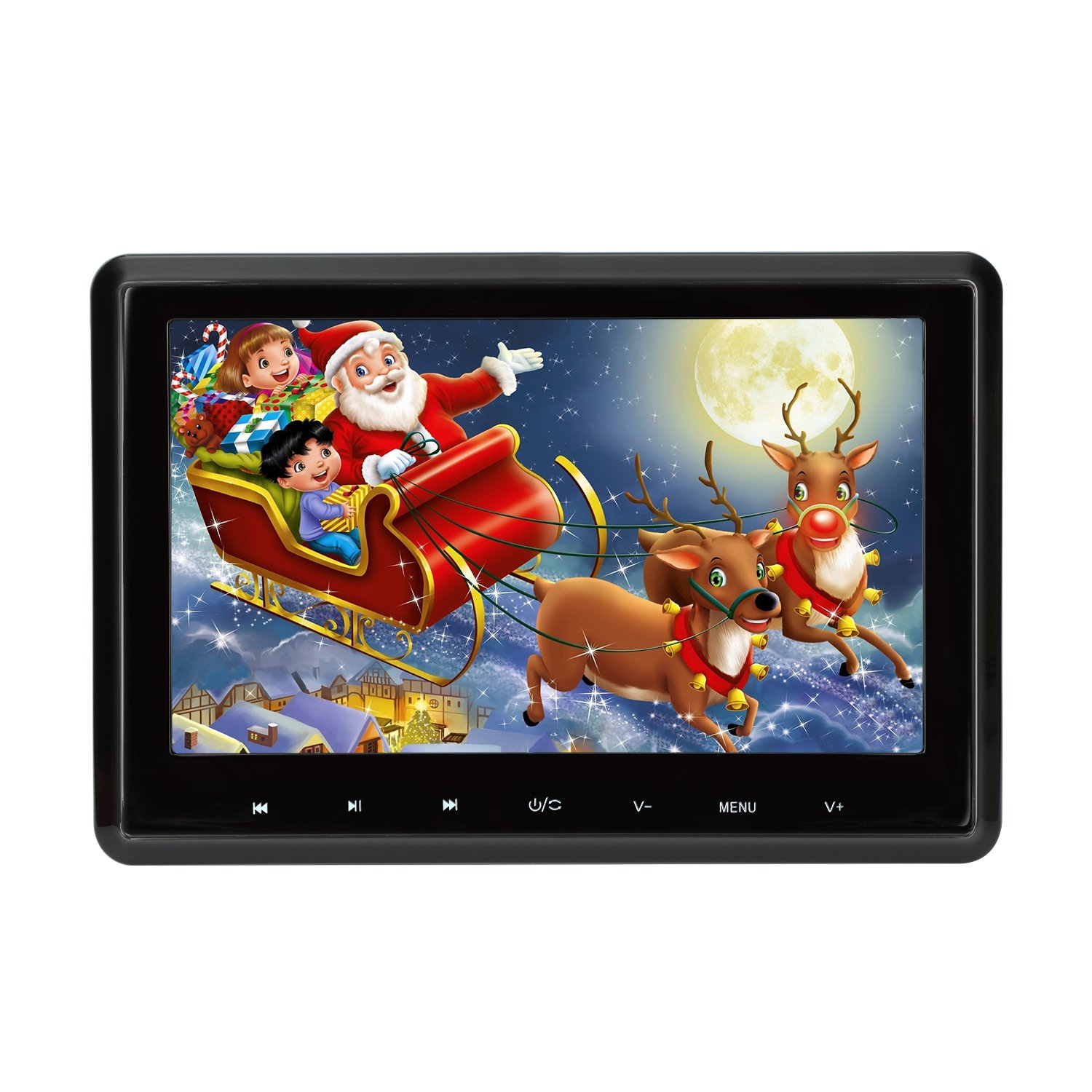 Car DVD Player 10.1 Inch 1080P HD Headrest DVD Player Monitor Auto Rear Seat Entertainment System for Long Car Travel Support DVD VCD CD SD USB FM HDMI (CLZ101HD)