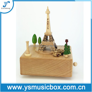 Eiffel Tower Wooden Music Box Xmas Gift/Custom Songs Musical Box for Baby /Kids/ Lovers