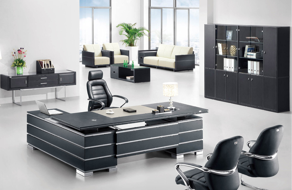 F 05 New Design Modern Leather Boss Office Table Wooden