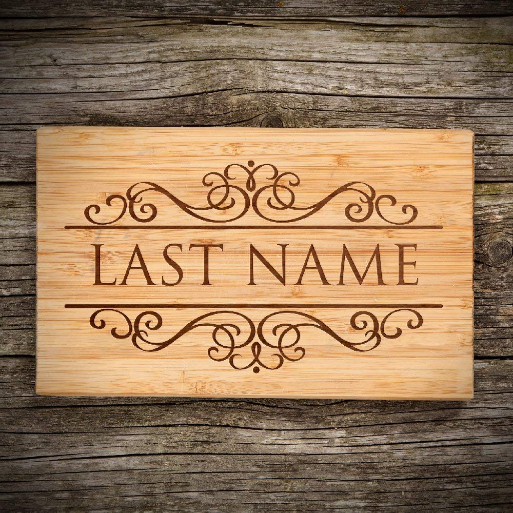 "P Lab Personalized Cutting Board, Custom Engraved Natural Wood Cutting Board, Christmas Gift, Wedding Gift, Anniversary Gift, Housewarming, Corporate Gift (11"" x 17 3/4"") Large Sol. Rectangular #M"