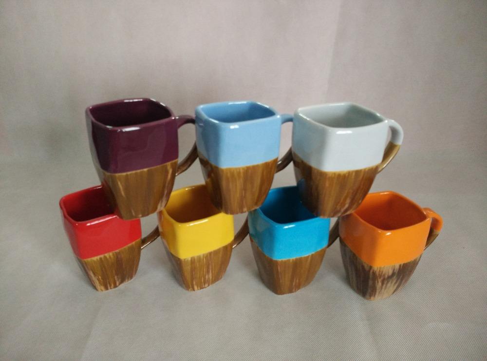 2017 Wholesales Square Shape Colorful Ceramic Coffee Mugs