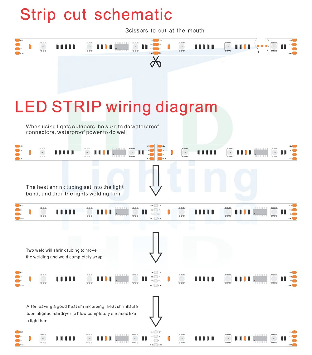 12v 5050 Rgb Dream Color 6803 Ic Led Strip Light Buy Lights As Well Wiring Diagram On Smd