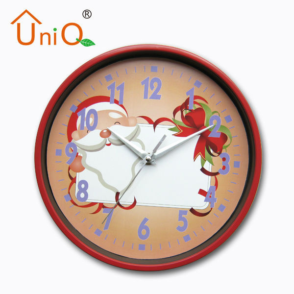 Round Lovely home or shop decoration christmas theme wall clock