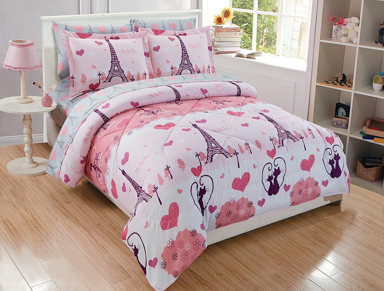Kids Zone Home Linen 4 Piece Full Size Sheet Set Aqua Paris for Girls//Teens Paris Eiffel Tower Hearts Butterflies