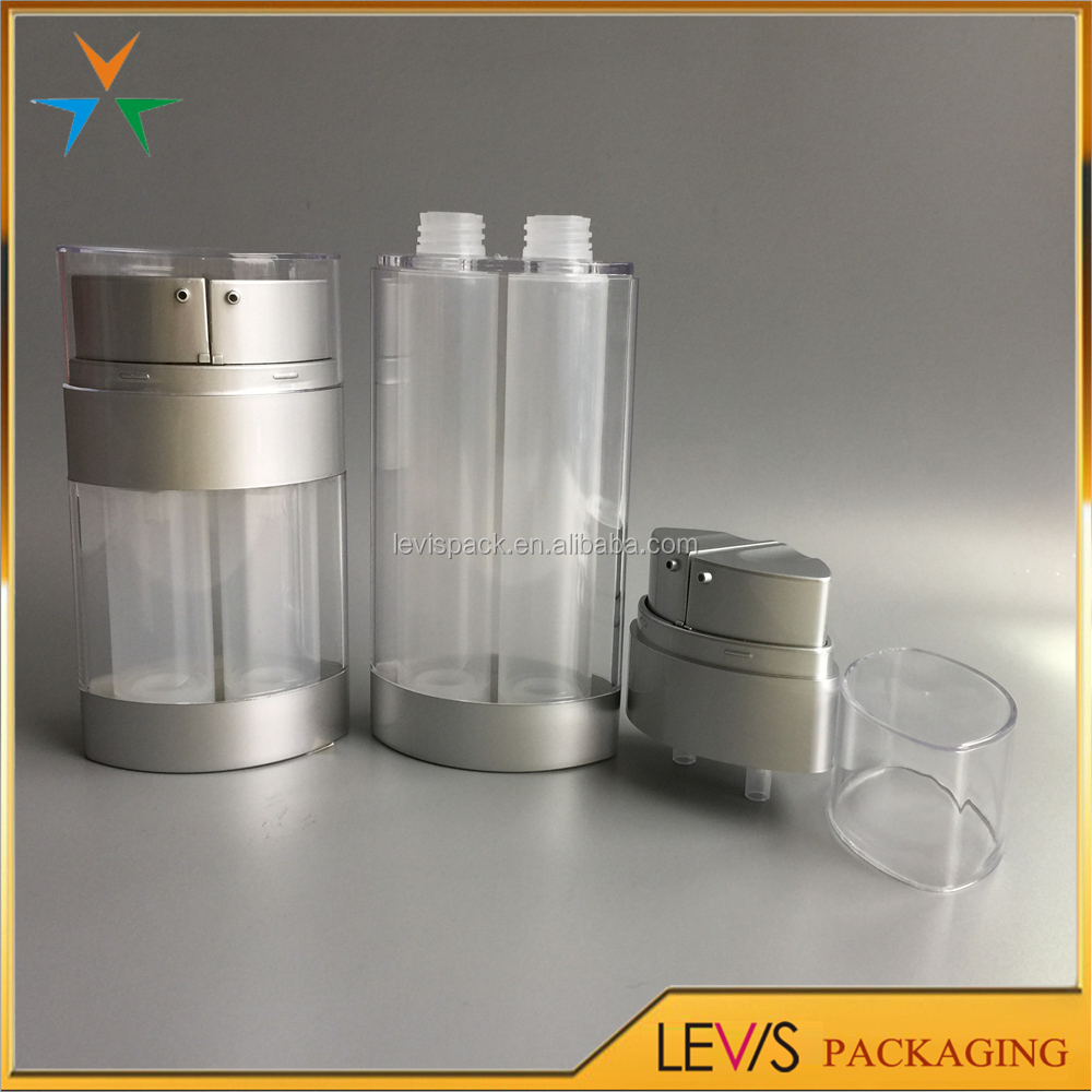 Plastic clear airless dual chamber cosmetic bottle