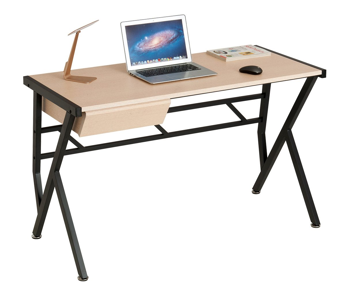 ProHT Small Computer Writing Desk with a Pullout Drawer, Durable Compact Computer Table Laptop Desk for Small Place, CARB Certified. (White Oak 05016A)