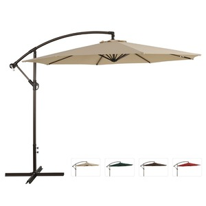3M round outdoor banana cantilever hanging parasol with metal cross base