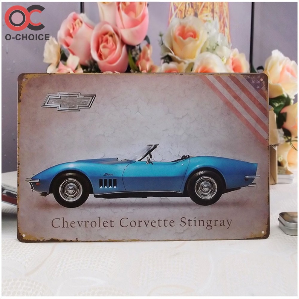 Vintage Metal signs Car design Tin painting
