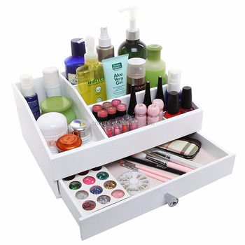 Desktop Shabby Chic Wood Cosmetic Makeup Organizer Box Jewelry
