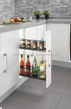 Aksesoris Dapur Kabinet Hitam Nikel Sempit Warna Keranjang Penyimpanan Untuk Rempah Dan Pantry