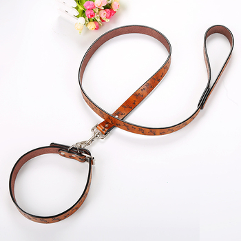 wholesale Hot offer luxury faux leather pet collar and leash set for dog pet product
