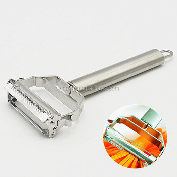 2 heads 304 stainless steel vegetable fruit peeler with cleaning brush