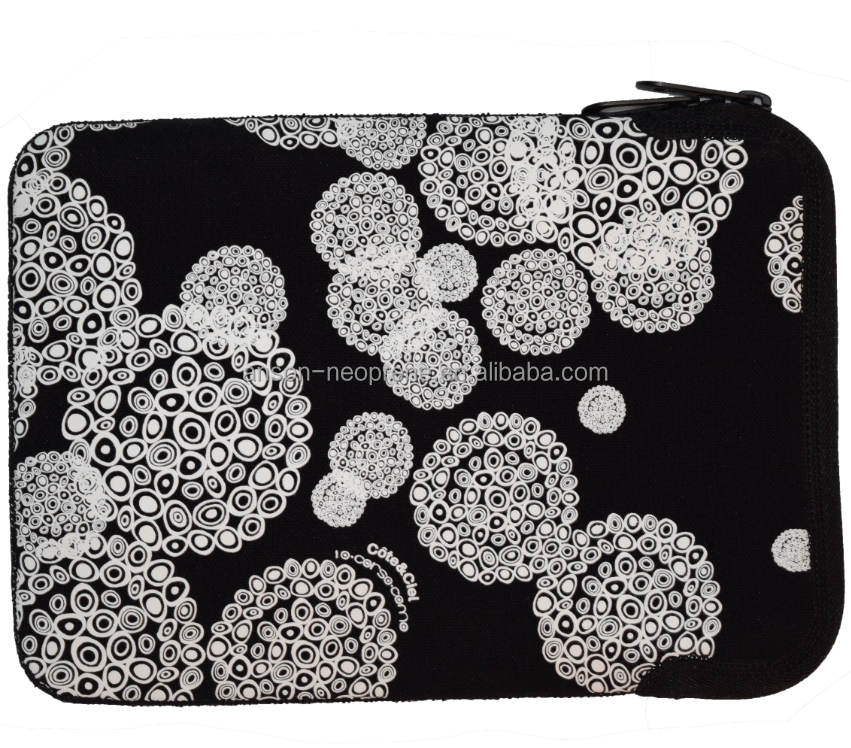 digital dye sublimation printing neoprene laptop sleeve waterproof protective pad very light weight informal style