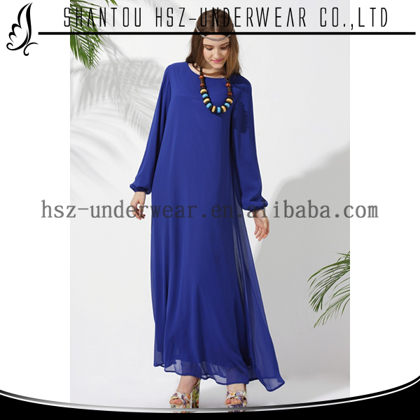MD10007 wanita modis gaun kasual panjang grosir plus ukuran sifon biru navy dress abaya islamic pakaian doa
