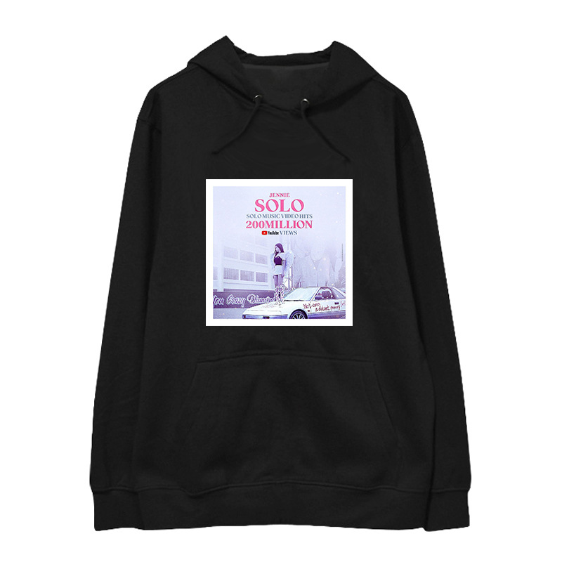10ab4105bdf1e Kpop Blackpink Album Solo Jennie Hooded Hoodie pullover Sweatshirt Harajuku  women Hoodies new korean hoodies streetwear clothes