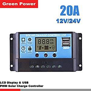 LIPOVOLT Solar Panel Battery Regulator Charge Controller LCD Display PWM 12-24V 20A