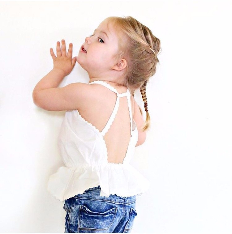 New Arrival Baby Girls Blank White Backless Trendy Tops Toddler Summer Shirts Wholesale