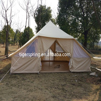 5x4m permanent canvas bell tent with two door for tourism
