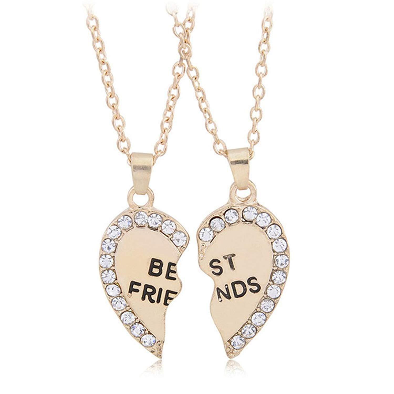 e51e9866e5 Get Quotations · Best Friend Necklaces BFF Engraved 2 Pieces Broken Heart  Matching Puzzle Friendship Pendant Necklace
