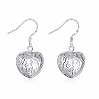 Special Fashion Silver Earrings Ladies' Filigree Heart Pandant Droop Wire Earrings