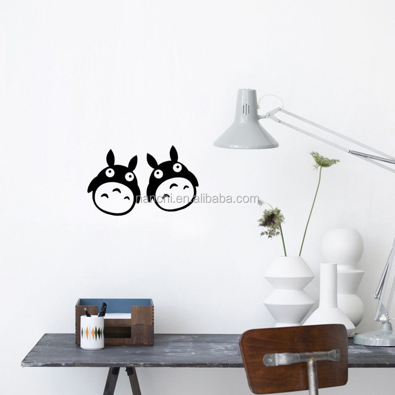 black cartoon Japan Cat wall sticker for kids baby room switch decoration funny toilet bathroom decals wallposter
