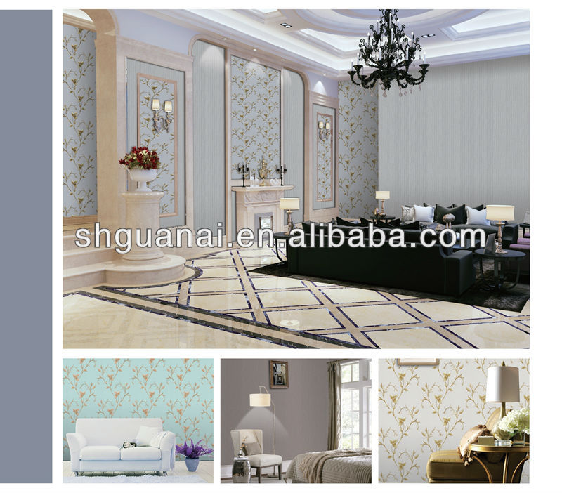 2014 luxury embroidery art beautiful flower pvc wallpaper