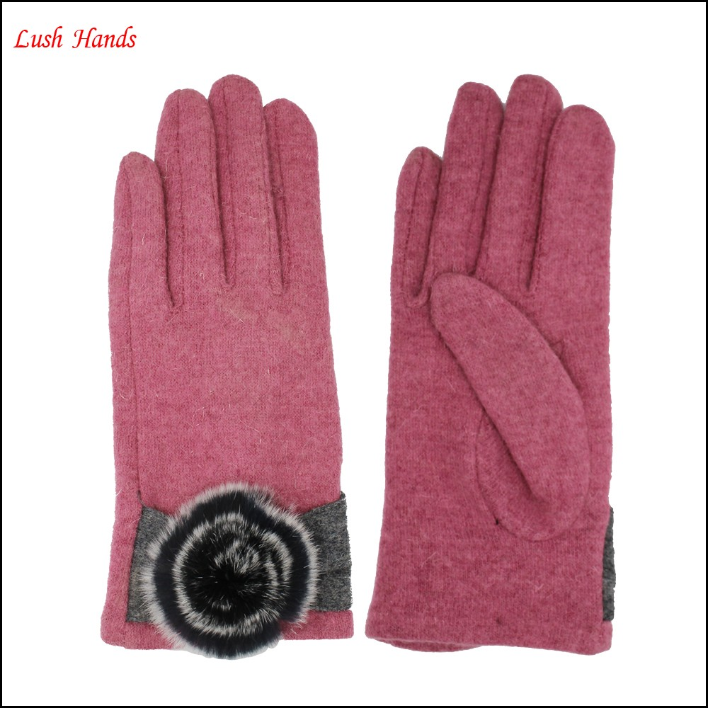 2016 fashionable ladies woolen gloves decorated with fake fur ball for wholesale