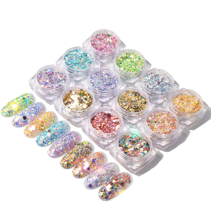 New Design Magical 12 Color-mixed <strong>Nail</strong> <strong>Glitter</strong> / <strong>Nail</strong> Glittering <strong>Powder</strong>