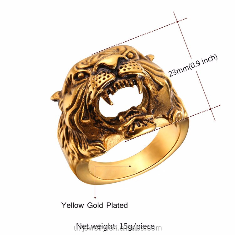 free stainless antique shipping cool steel detail engagament ring rings animal gold product plated tiger kpop