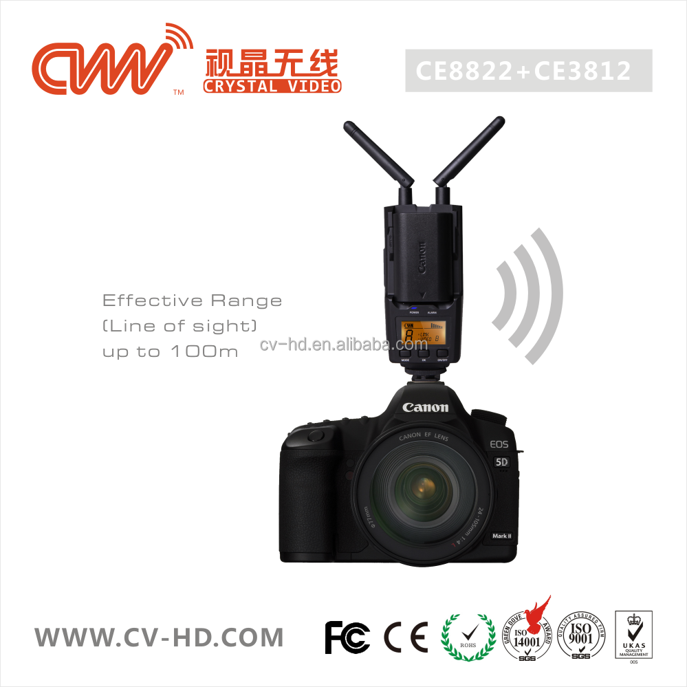 CVW100 100M/330FT wireless full HD 1080P/60Hz video transmitter for DSLR, DV, Camcorder with zero latency