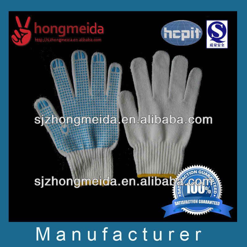 cheap winter one side pvc dots cotton industrial work glove