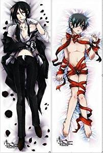 "Japan Anime Black Butler Hepburn: Kuroshitsuji Sebastien Michaelis Ciel Phantomhive Decorative Hugging Body Pillow Cover Case Double-sided 59.06""x19.69"""