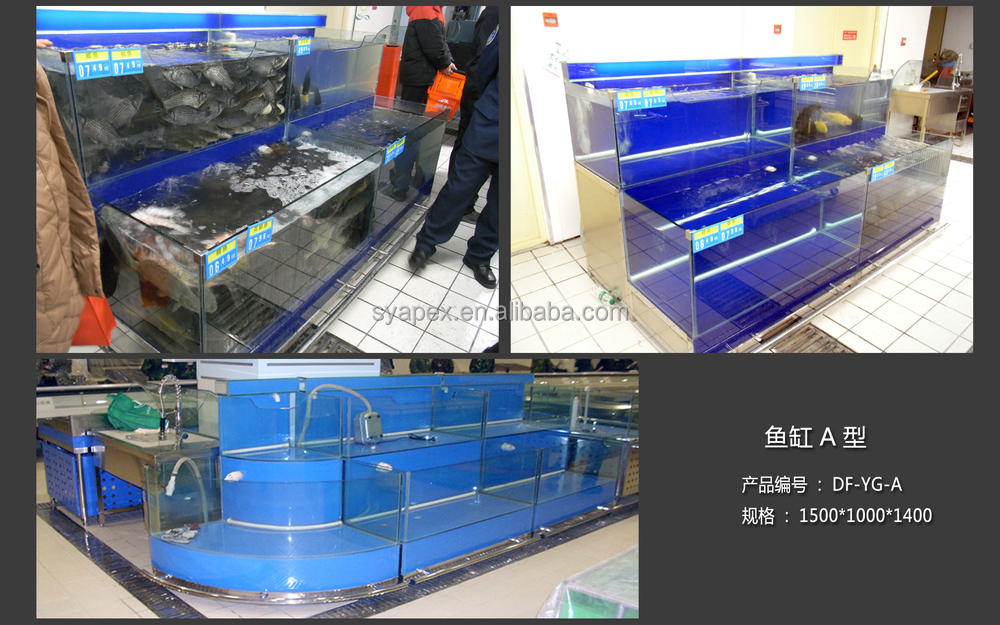 Apex supermarket two layers angle shaped side tank display for Aquarium angle