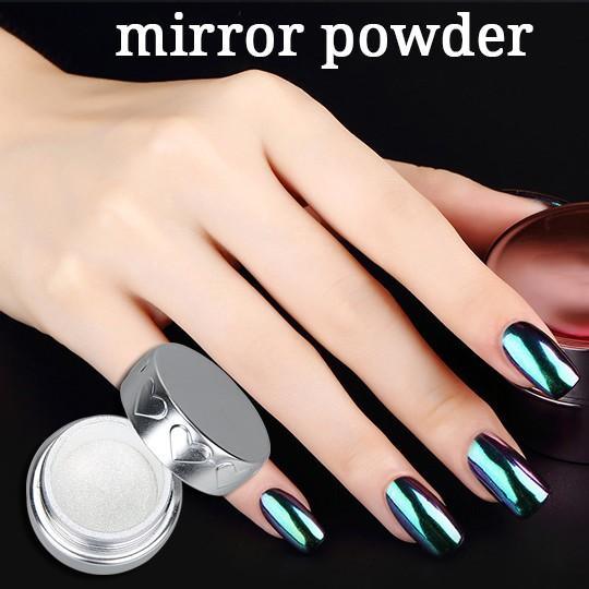 Vernis ongles miroir effet glitter pigment chrome - Pintaunas efecto espejo ...