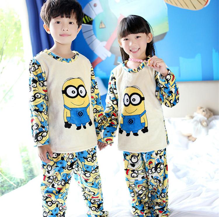 Fashion minions 2015 6Y 12Y warm children pajama sets winter sleepwear for boys girls thicken flannel