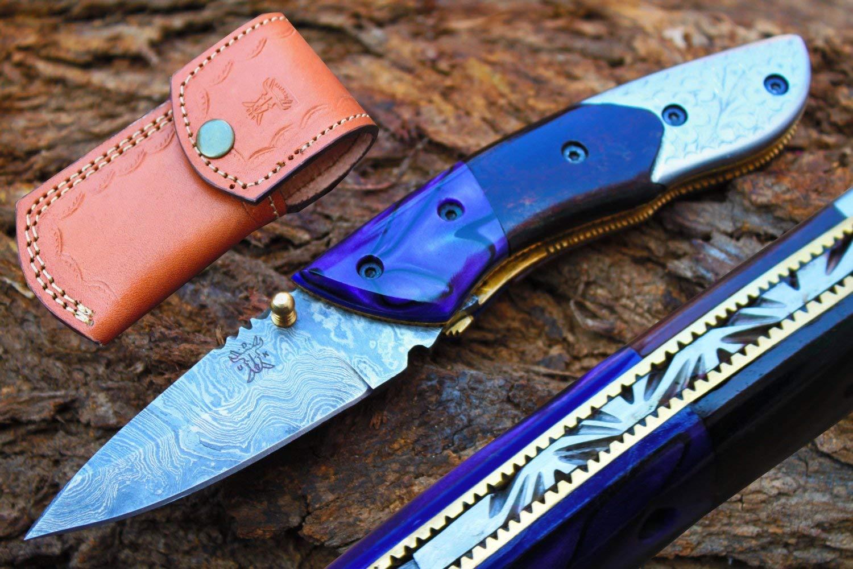 "2.6""Blade Custom Handmade Folding Knife w/Engrave Steel Bolsters,Dyed Blue Buffalo Bone,Kerinitie,File-Work & Sheath Cover UDK-D-C-F-19"