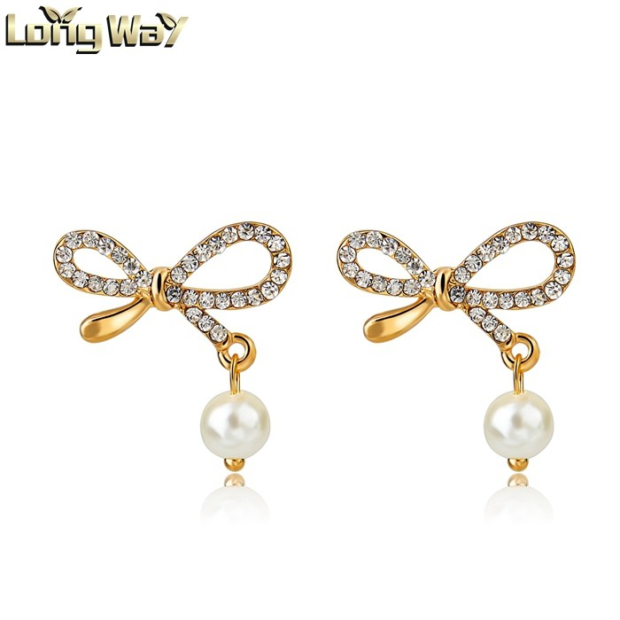 Crystal bowknot jewelry simple gold earring designs for women ...