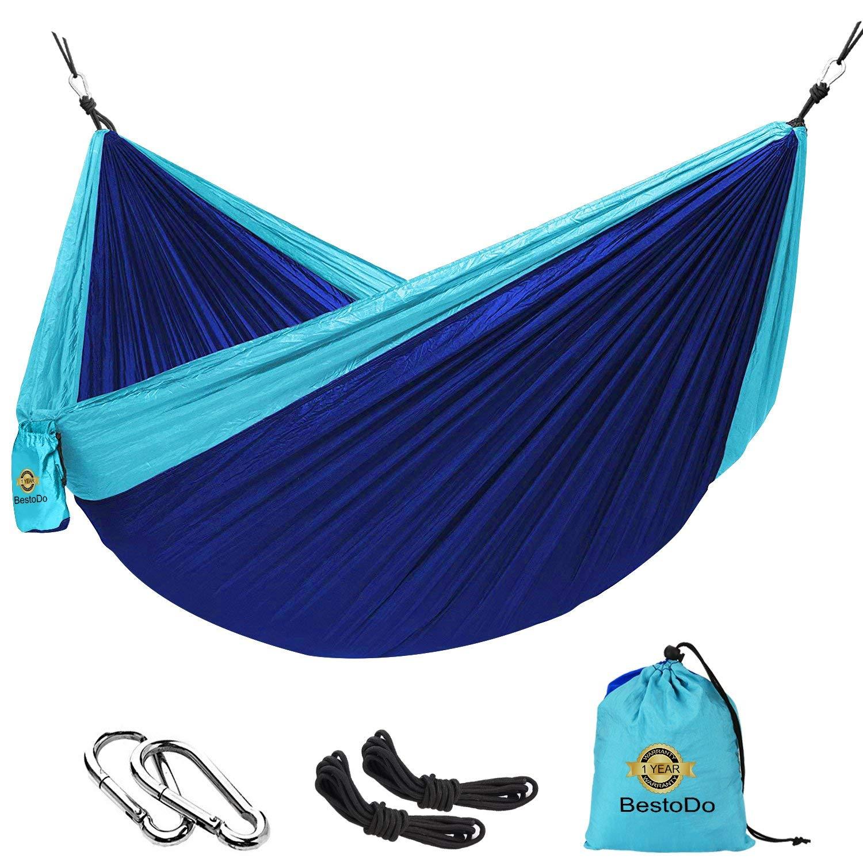 Hammock for Camping-Garden Nylon Hammock,Ultra-Lightweight & Portable Parachute Hammock,Single & Double Camping Hammocks Swing Bed 118'' x 78'' for Outdoor Backpacking, Hiking, Yard, Traveling