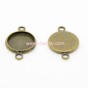 Wholesale antique brass bronze blank necklace connector pendant trays bezel setting two loops connector