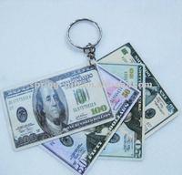 U S dollar money pvc key chain