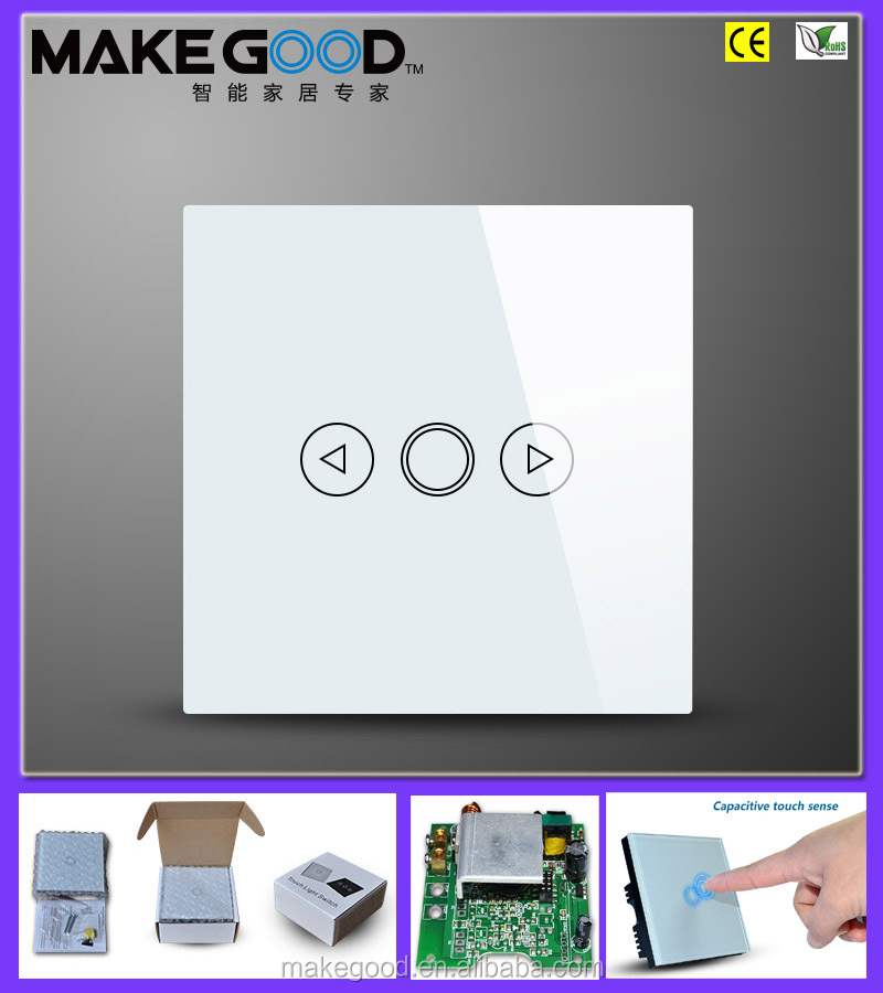 High luxury crystal tempered glass touch panel dimmer switch 230V for smart home
