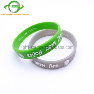 Promotional Custom Embossed Color Printed Logo Silicon Bracelets