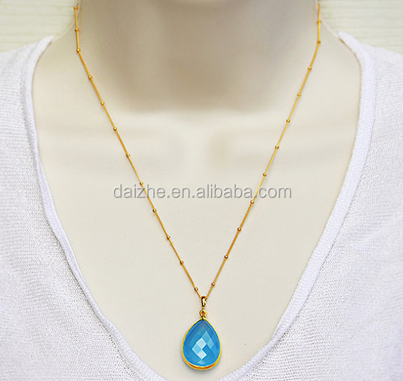 925 sterling silver 18k gold plated blue topaz tear drop necklace