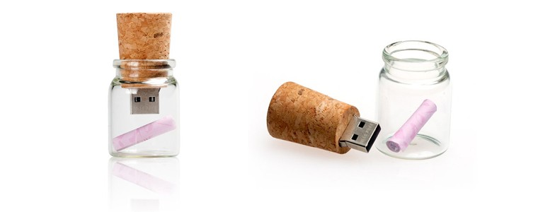 drift bottle cork shape usb flash drive with logo printing