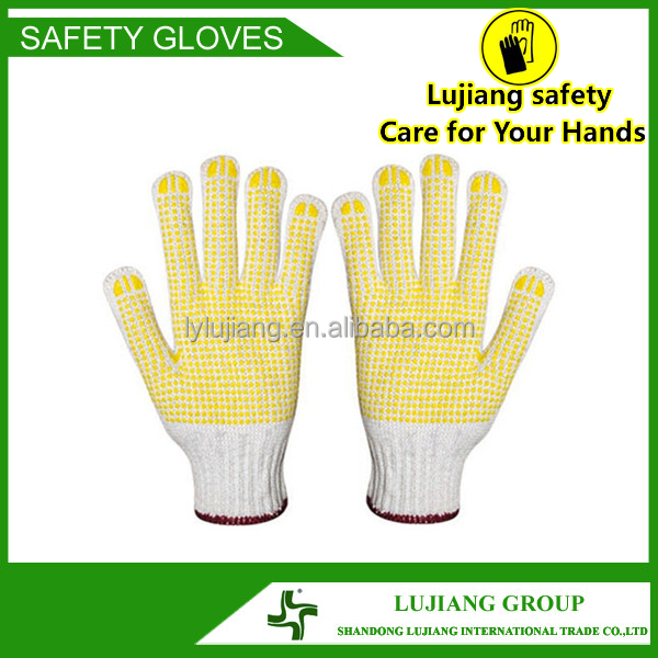 Welcome inquiry! Top quality multi color PVC single dots bleached color cotton knitted gloves
