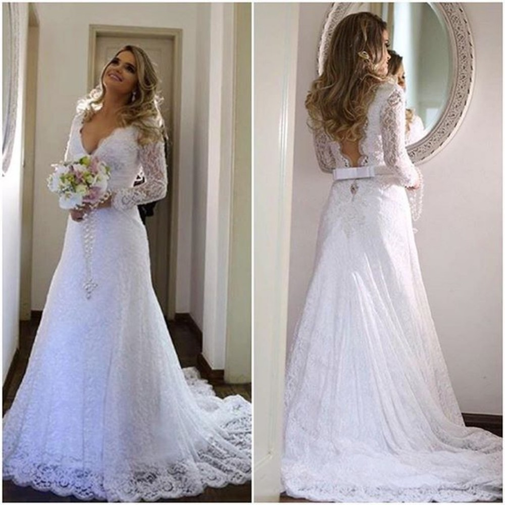 White Wedding Gowns With Sleeves: Deep V Neckline Lace Wedding Dress Long Sleeves Arabic
