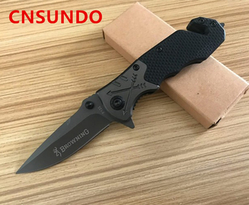 Free Shipping 5Cr15MoV Steel Blade Metal Bolster G10 Handle Titanium Finish Folding Blade Knife Pocket Knife