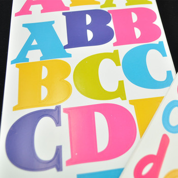 Custom die cut alphabet paper stickers vinyl letter stickers for kids
